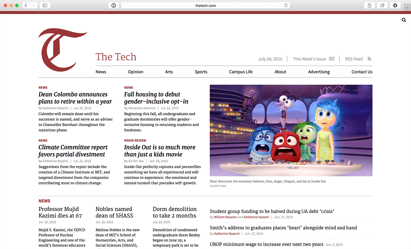 The Tech's new homepage, designed to better emulate a print newspaper